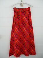 Vtg 1960s Cali Plaid Size S Handmade Red Maxi Skirt A-line Unbranded