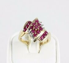 10k Yellow Gold Natural Ruby and Diamond Ring Size 7 1/4