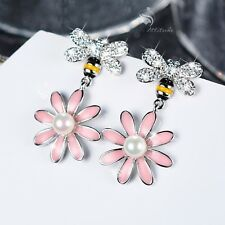 18k white gold made with SWAROVSKI crystal stud earrings bee pink flower 925 pin