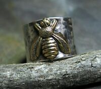 Retro Bee Finger Ring 925 Silver Ring Women Wedding Anniversary Jewelry Sz 6-10