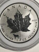 2018 Canadian Dog Privy Reverse Proof Maple Leaf 1 oz Silver Coin BU .9999 FS