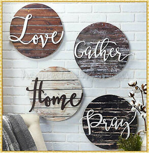 Distressed Wood Embellished Sentiment Wall Plaque Sign LOVE GATHER HOME or PRAY