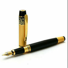NEW HERO 901 Medium Nib Fountain Pen Luxury Black & Gold Stainless Gift