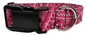 Pink Bandana Dog Collar cowgirl Fabric country western puppy cowboy cotton girly