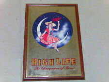 "1999 Large Framed Miller Mirror Beer Sign High Life Girl on the Moon 25"" x 18"""