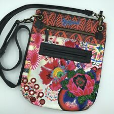 Desigual Women's Embroidered Crossbody Floral Purse Adjustable Strap