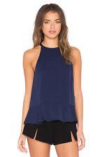 Diane von Furstenberg lizzy Silk Blouse Halter Top Navy Blue size M NEW