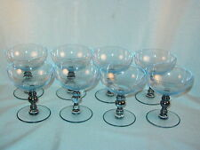 TURQUOISE BLUE FOOTED BALL STEM SHERBET CHAMPAGNE GLASSES LOT OF 8