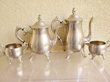 Vintage Tea/ Coffee Set marked ''EP BRASS''/ Silver Plated on Brass/ 4 pieces