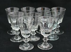 9x antique 19th Century crystal Sherry or Port glass, ca. 1860-1880, a set of 9