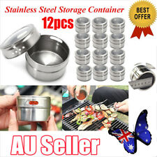 12Pcs Magnetic Spice Tin Stainless Steel Storage Container Jar Clear Lid Set  EA