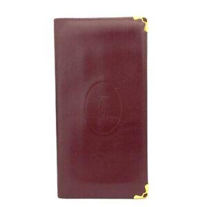 Must De Cartier Bordeaux Leather Bifold Long Wallet /D1703