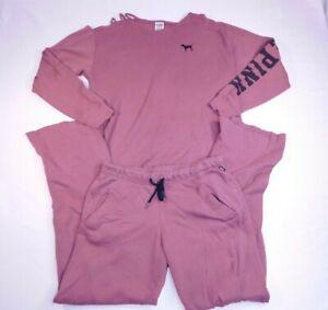 Victoria Secret PINK Sweatshirt & Sweatpants Set Cold Shoulder Fray Size XS/ SP