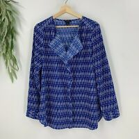 Ann Taylor Womens Pullover Blouse Size M Blue Ruffle Front Long Sleeve Top Shirt