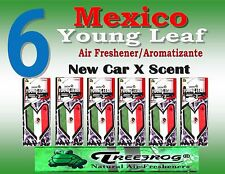 6 Packs Treefrog YOUNG LEAF MEXICO FLAG  Air Freshener - NEW CAR Scent