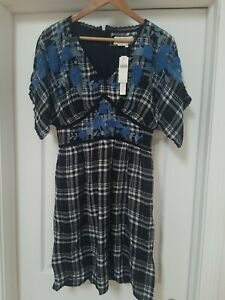 Anthropologie  Dress Plaid With Blue Floral Embroidery  Size  8 NWT