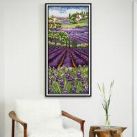 Craft Stamped Cross Stitch Kit 11 Count Aida Cloth - Lavender Flower