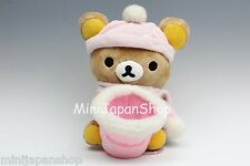 San-x Rilakkuma pink winter plush with basket Original Sanrio Japan