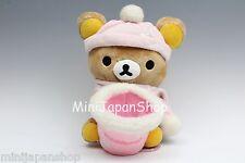 San-x Rilakkuma pink winter plush with basket Original Sanrio Japan