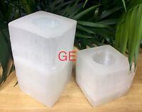 Selenite Candle holder Gift Set Square Tea Light Candleholder Crystal Gemstone.