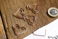10 x Heart Copper Clip Rose Gold Paper Clips Binding Office Craft School Wedding