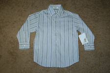 NWOT Boys Calvin Klein Gray Striped Button Down Shirt Size 5 Nice LQQK Free Ship