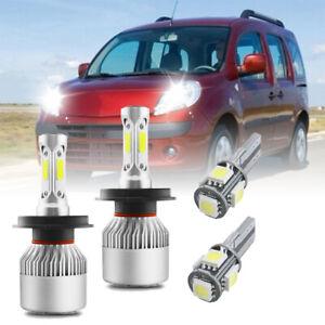 For Renault Kangoo - Super White High/Low LED Headlight Bulbs + Sidelight 4x