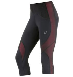 Asics Women's Running Tights Leg Balance Knee Sports Tights - Black/Rouge - New