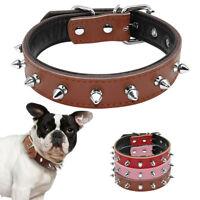 Collar de púas clavos para perro Gato De Cuero Ajustable Pequeño Bulldog francés