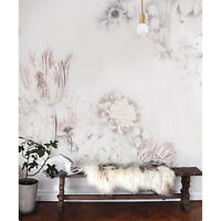 White Vintage Floral Art Removable Wallpaper Canvas Texture Peel and stick
