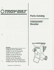 TROY-BILT TOMAHAWK SHREDDER PARTS CATALOG 5 HP AND 8 HP