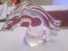 DAUM  LARGE FRENCH CRYSTAL SIGNED GLASS CRYSTAL BUST OF A HORSE STUNNING