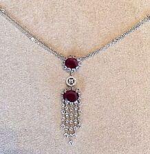 ANTIGUO RUBÍ Y Diamante Colgante de Gota Collar 18ct Oro Blanco - hm1549
