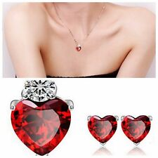 USA-Sets Women Gold Plated Red Heart Crystal Jewelry Wedding Necklace Earrings