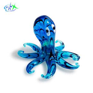 Blue Octopus Aquatic Decor Glass Mini Aquarium Ornament Fish Tank Decorations