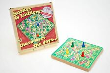 Retro Wooden Snakes and Ladders Kids Traditional Classic Travel Board Game Fun
