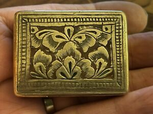 VINTAGE ANTIQUE BRASS SNUFF OR TOBACCO BOX Engraved  Red And Black Enamel 50mm