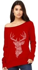 Christmas deer silhouette Holiday Outfit Off shoulder sweatshirt
