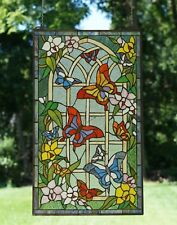 "20"" x 34"" Handcrafted stained glass window panel Butterfly Garden Flower"