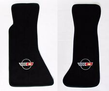 NEW! FLOOR MATS 1984-1996 Corvette With Embroidered Circle Emblem Logo Pair Set