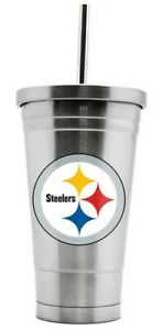 PITTSBURGH STEELERS STAINLESS STEEL DOUBLE WALL THERMO STRAW TUMBLER FREE SHIP