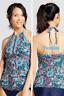 Merona women's high neck halter tankini TOP ONLY blue/black multi S M L XL NWT