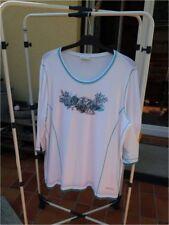 BONITA-T-Shirt XL+ weiss/türkis mit Applikation und Straßsteinen ungetragen