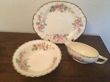 Limonges Made In Usa 3 Piece Rose Serving Service