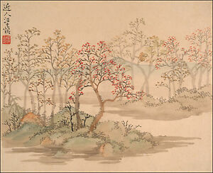 Chinese Flower Paintings: Wang Shishen: Landscapes, Flowers p.2 - Fine Art Print