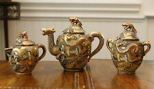 New listing Ornate Vintage Japanese Satsuma Dragon Tea Set w/Raised Moriage Decor