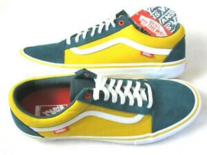 Vans Mens Old Skool Pro Prime Atlantic Gold Yellow Green Skate Shoes Size 11 NWT