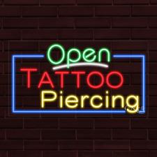 "New ""Open Tattoo Piercing"" w/Border 37x20X1 Inch Led Flex Indoor Sign 35583"