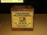 VINTAGE  LONGWOOD PLANTATION'S SYRUP BATON ROUGE LA WOOD BOX