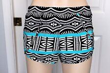 VOLCOM Women's Black/White & Turquoise Print Pull-on Shorts / Swim Cover Size S